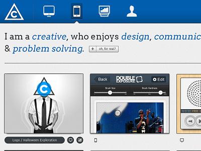 Personal Portfolio Redesign clean ui graphic design web design branding personal blue minimal icons responsive design