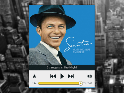 Sinatra Player iphone ui ios glyphs glyph icons icon clean bored free time interface stacked teal progress bar draggable vintage simple graphic design
