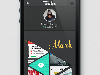 Timeline App (practice) ios iphone jayz shawn carter trendy hispter triangles matte dark dark ui hipster script brandon grotesque typography clean grid time line timeline practice bored just for fun free time grind
