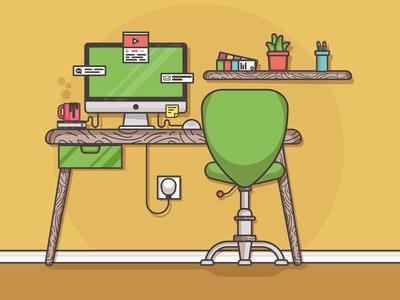 Home Office v1 social ui flat-design icon logo office mac flat minimal e-commerce logo-design character