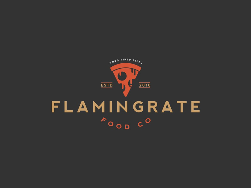Flamin Grate Food Company Logo vintage ui flat-design icon logo liquid pizza flat minimal e-commerce logo-design character