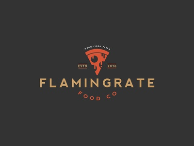 Flamin Grate Food Company Logo vintage ui flat-design icon logo liquid pizza flat minimal e-commerce logo-design character