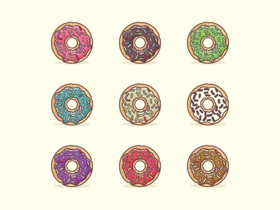 Doughnuts For Everyone diet treat flat-design pastry flat bakery sweets doughnut hungry icon minimal