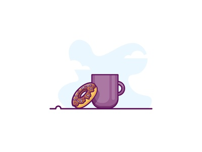 Coffee and Doughnuts friends doughnut chat frosting blue coffee minimal illustration cup relax flat-design retro