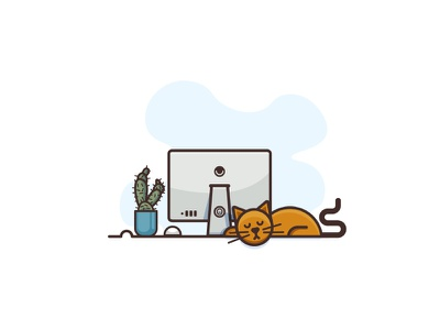 Lazy Day simple flat-design lazy cactus illustration minimal work blue pets sleep cat mac