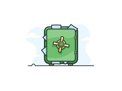 Your Data's Safe vault protect lock data safe work minimal illustration protection green flat-design simple