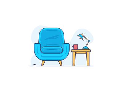 Waiting coffee relax lamp table lounge chair minimal illustration psychology waiting flat-design retro