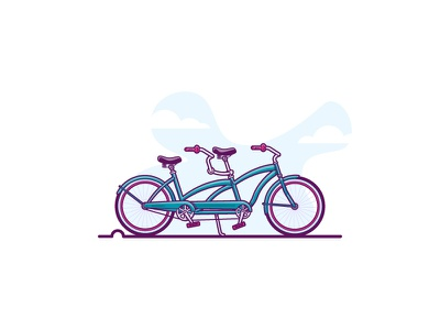 The cycle of love simple summer cycle love beach cruiser bicycle bike tandem lovers flat-design minimal retro