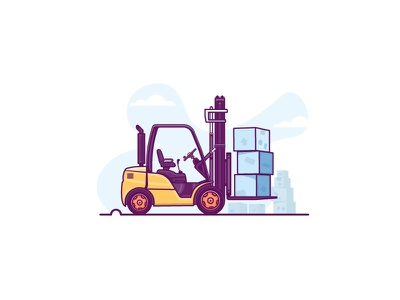 Jobs that pay more than you think 😮 boxes factory driver warehouse forklift data minimal illustration export transfer flat-design retro