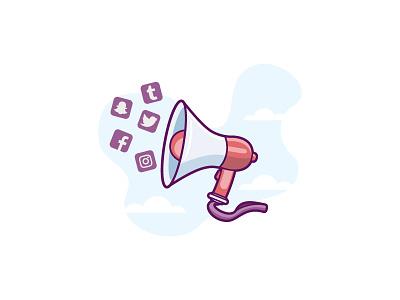Socially Needy retro flat-design contact social illustration minimal platform loudhailer megaphone chat connect shout