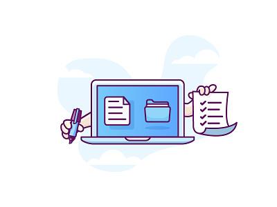 Multi Tasking transfer folder laptop tasks blue macbook minimal illustration lamp documents flat-design retro