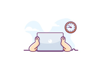 Not Responding retro flat-design slow tired illustration minimal macbook blue crash laptop computer transfer