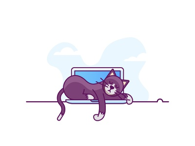 No Work For You mac cat sleep pets tux work minimal illustration laptop lazy flat-design simple