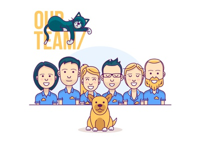Teamwork avatar flat-design lazy teamwork illustration minimal work dog pets sleep cat team