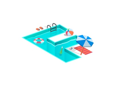 Data Pool simple flat-design isometric data illustration data-pool sun umbrella message help summer pool
