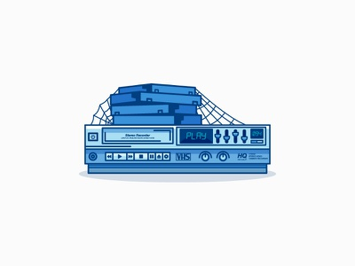 Blockbuster Blues play 80s vhs vintage blue video minimal illustration tired slow flat-design retro