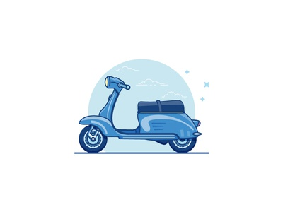 Scooter italian city bike kit biking amore 80s blue summer vintage cool scooter retro flat-design minimal