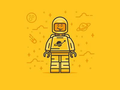 Mellow Lego retro flat stars bold space astronaut symbol icon illustration character flat-design minimal lego
