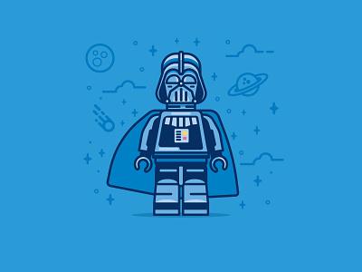 To the dark side you go icon flat-design space retro illustration lego darth vader flat character bold darthvader star wars
