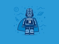 To the dark side you go icon flat-design space retro illustration lego darth vader flat character bold darthvader star wars