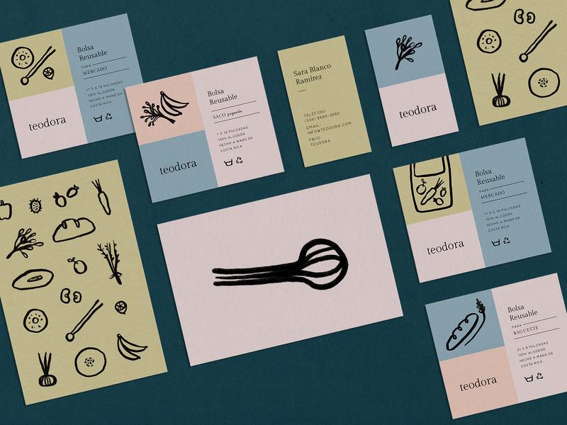 Print design for Teodora food home goods illustration visual identity identity design print design branding design