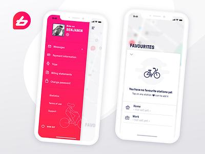 Bike Sharing App Concept - BIXI like iphone x product design ui ux empty state side menu