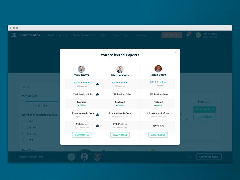 New feature for finding a mentor! find comparison expert mentorship live help community coding mentor developer codementor