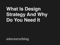 What is design strategy and why do you need it