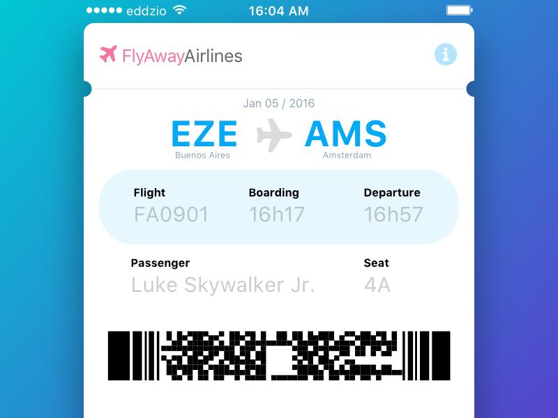 Boarding Pass ticket blue qr code boarding pass ios