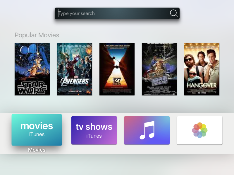 TV search search bar shadows 3d user interface user experience ux tv mockup apple tv