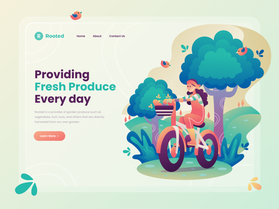 Header Illustration for Gardening Website bike web design website character homepage web ui header flat illustration landing garden illustration design