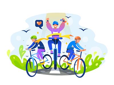 Biking Champion riding champion biking branding web vector landing illustration flat illustration design character bike