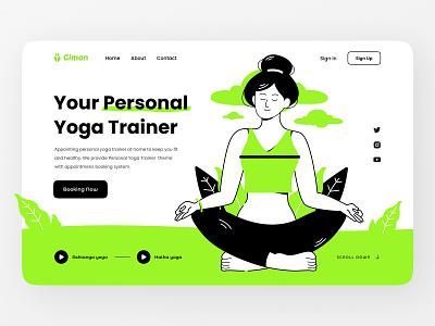 Personal Yoga Trainer mental health health yoga graphic design branding ui logo web landing illustration flat illustration design character