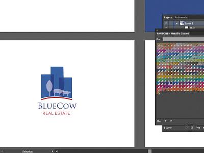 Branding in Process branding logo blue cow logotype identity