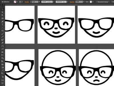 Working out some new emoticons geek emoticon smiley glasses illustration