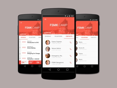 Event App UI in Material Design schedule contacts list event mockup android mobile ui material design