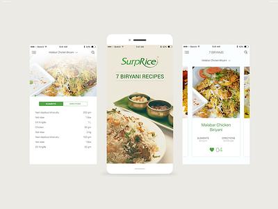 Recipe App - UI cooking biriyani recipe app ui