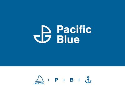 Pacific Blue - Branding logistics ship marine branding design identity logo