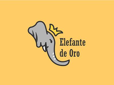 Elefante De Oro crown illustration logo elephant king oro elefante