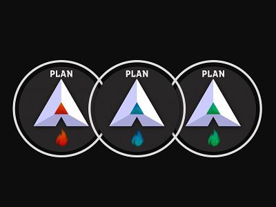 Plan A - [Rubí, Zafiro, Esmeralda] sapphire zafiro emerald esmeralda ruby rubí logo fire plan letter letra a