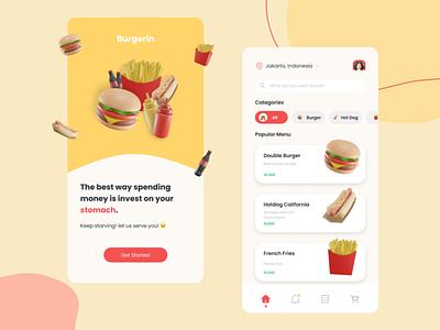 UI Design - Burgerin home onboarding food figma ui app design