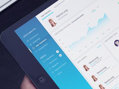 Admin Panel Dashboard social media graph sketch blue ipad dashboard panel admin