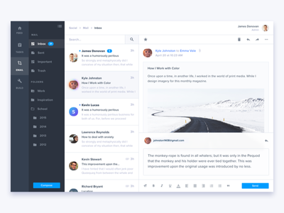 User Inbox ui typography social sketch settings pictures photography layout icons gallery email dashboard