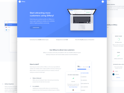 Siftery - Product Profiles teach platform guide teaser website assist help dashboard blue landing page