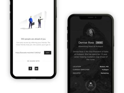 A profile for Salespeople bravado marketing modern luxury illustration dark sales profile iphone x