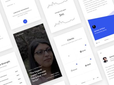 Bravado Screenshots learn video analytics minimal clients testimonials profile product design sales