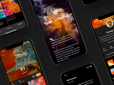Mix - More exploration blog iphone uiux collection news feed newsfeed profile card article profile orange ui design sketch app ios