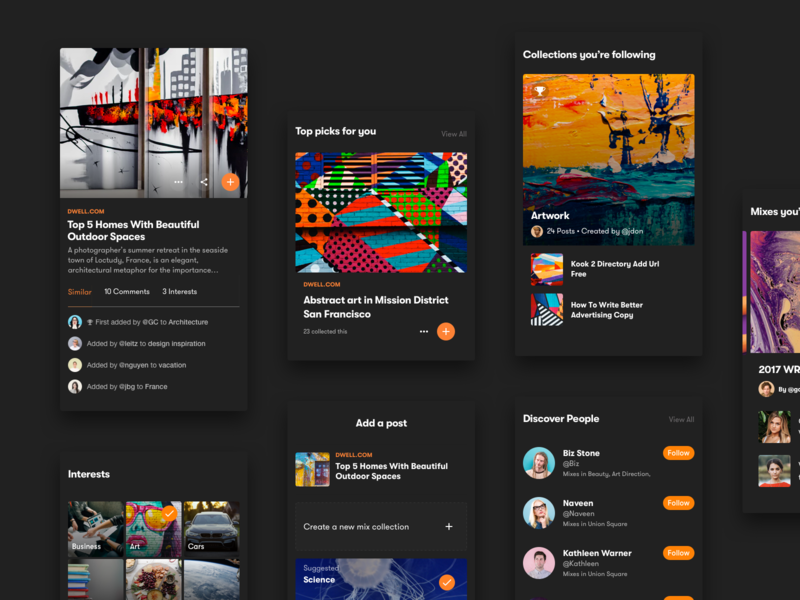 Dark Modules dribbble materialup interests collection digest read post article content news feed social people news profile ios mobile web ui sketch components