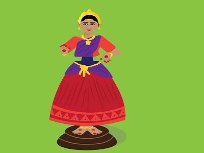 Dancing Doll cute dress beautiful girl woman tanjoredoll doll dancingdoll colorful dancing dance graphic design vector illustration