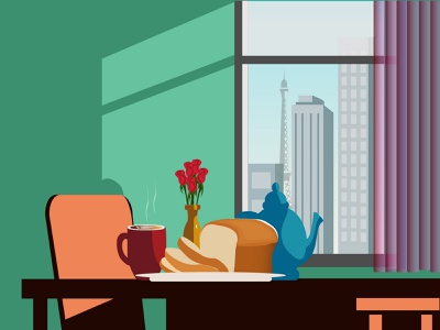Window View teapot flowervase building rose vase flowers sky chair table mug bread coffee city colorful cityview morning window vector graphic design illustration